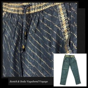 SCOTCH & SODA Blue Gold Striped Boho Pants
